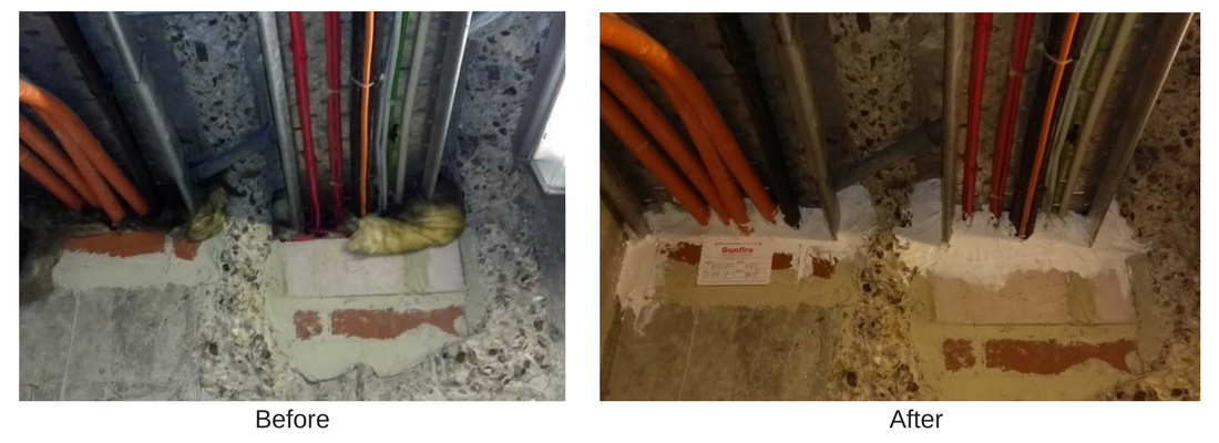 example of fire stopping cable tray services through a floor penetration