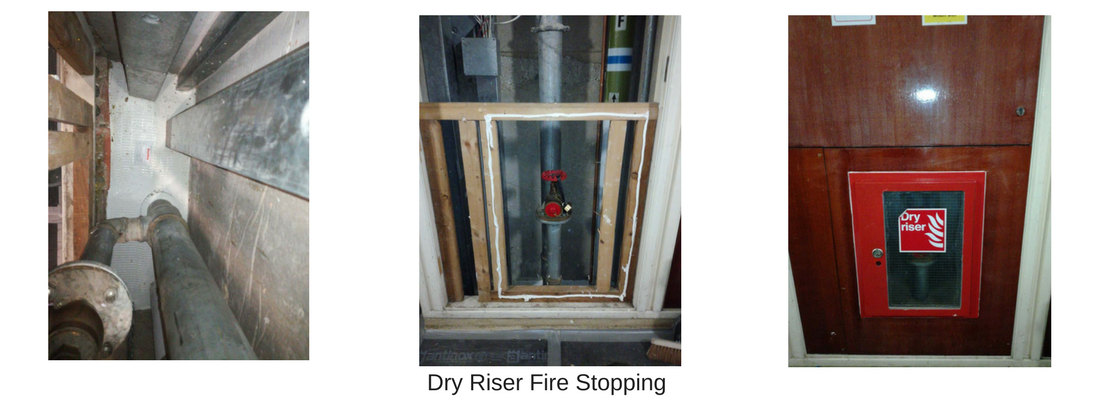 an example of fire stopping to a dry riser