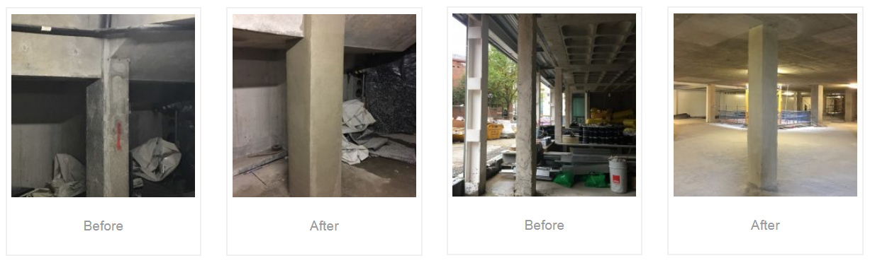 before and after fire protection to columns in basement of Archway House